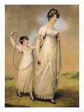 Portrait of a Mother and Her Daughter, in White Dresses, the Daughter with a Skipping Rope Giclee Print by Adam Buck