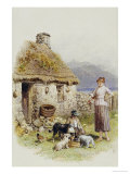 A Highland Cottage Prints by Myles Birket Foster