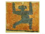 A Fine and Rare Nasca Feathered Panel, with the Figure of a Monkey Prints