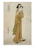 The Streetwalker Okane of Dotombori in Osaka Giclee Print by Chokyosai Eiri