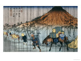 Oiwake Station, a View of Mount Asama Giclee Print by Keisai Eisen