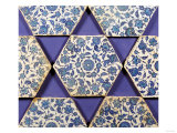 Seven Iznik Blue and White Hexagonal Pottery Tiles, circa 1540 Giclee Print