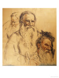 Three Studies of Leo Tolstoy (1828-1910) Reproduction procédé giclée par Ilya Efimovich Repin