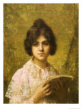 Young Woman Holding a Book Giclee Print by Alexei Alexeivich Harlamoff