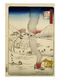 Men Fishing for Eels and Other Fish Through a Hole in the Ice Giclee Print by Hiroshige II