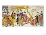 Three Groups of Courtesans with Their Shinzo and Kamuro Gicleetryck av Kitagawa Utamaro