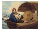 A Tanka Woman with Her Child on a Boat Posters by George Chinnery