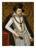 Portrait of King James VI of Scotland, James I of England (1566-1625) Giclee Print by John De Critz