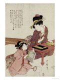 A Young Woman Seated at a Desk Writing, a Girl with a Book Looks On Gicleetryck av Kitagawa Utamaro