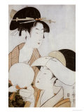 Bust Portrait of Two Women, One Holding a Fan, the Other with a Head Cover Holding a Tea Cup Prints by  Utamaro Kitagawa