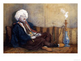 Portrait of Sir Thomas Phillips in Eastern Costume, Reclining with a Hookah Premium Giclee Print by Richard Dadd