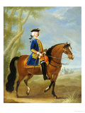 Portrait of a Mounted Officer, Horsemen Beyond in a Landscape Giclee Print by John Wootton