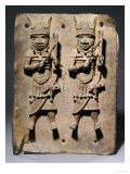 A Benin Bronze Plaque with Two Relief Figures, circa 1600 Poster