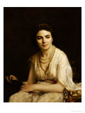 Portrait of a Woman Wearing a Pearl Necklace and Holding a Fan Giclee Print by Alexei Alexeivich Harlamoff