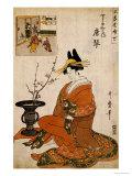 The Courtesan Karakoto of the Chojiya Seated by an Arrangement of Plum Flowers Giclée-tryk af Kitagawa Utamaro