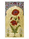 A Single Stem of Poppy Blossoms on Gold Ground, 1770-80 AD Impressão giclée