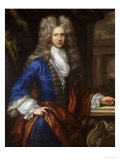 Portrait of a Gentlemen, in a Blue Coat with White Shirt and Red Satin Cape Giclee Print by John Clostermann