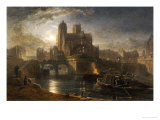 Notre Dame, Paris, from the Left Bank by Moonlight, 1864 Giclee Print by Edward Angelo Goodall
