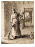 Woman Sweeping Her Home Giclee Print by Jean-François Millet