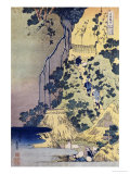 Travellers Climbing Up a Steep Hill to Pay Homage to a Kannon Shrine in a Cave by the Waterfall Prints by Katsushika Hokusai