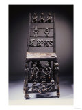 A Fine Chokwe Chair Carved with Various Figures Prints