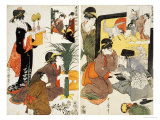 Loyal League Depicting Everyday Life of an Edo Period Household Gicleetryck av Kitagawa Utamaro