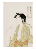 Half-Length Portrait of a Woman Smoking, Holding a Pipe and Exhaling a Cloud of Smoke Giclee Print by Utamaro Kitagawa 