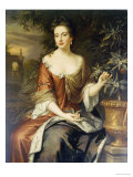 Portrait of Queen Mary II, Wearing a Blue and Red Dress and Holding a Sprig of Orange Blossom Giclee Print by William Wissing
