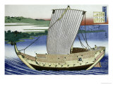 A Large Junk in Full Sail Print by Katsushika Hokusai