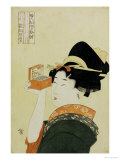 A Young Girl Looking Through a Nozoki Megane, Magic Lantern Print by Kitagawa Utamaro