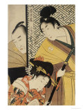 Act II of Chushingura, the Young Samurai Rikiya, with Konami, Honzo Partly Hidden Behind the Door Giclee Print by Kitagawa Utamaro