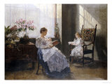 Mrs Leopoldine Masarai with Her Daughters at the Artists Studio, 1896 Giclee Print by Hans Tichy