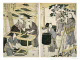 Silk-Worm Culture by Women Affischer av Kitagawa Utamaro