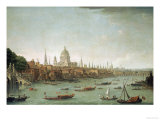 A Panoramic View of the City of London from the Thames Near the Water Gate of Somerset House Giclee Print by Antonio Joli