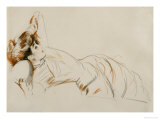 An Elegant Lady Reclining Posters by Paul-cesar Helleu