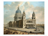 View of St. Paul's Cathedral with Figures in the Foreground, English School circa 1725 Art