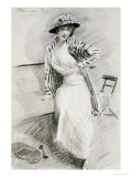 Madame Paris Sitting on Bench Giclee Print by Paul-cesar Helleu