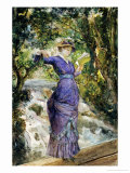 Girl Reading by a Waterfall, circa 1882 Giclee Print by Maria Konstantinovna Bashkirtseva