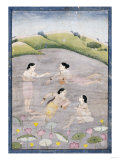 The Wives of Raga Hindola Swimming in a Lake with the Aid of Pitchers, Kangra, Early 19th Century Giclee Print