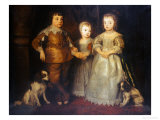 Group Portrait of the Children of King Charles I, Full Length Reproduction proc&#233;d&#233; gicl&#233;e par Sir Anthony Van Dyck