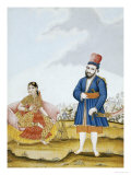 A Moghul Nobleman with His Wife, Tanjore School, circa 1820s Giclee Print