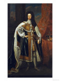 Portrait of King William III (1650-1702), in State Robes Giclee Print by Godfrey Kneller