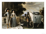 King Charles I and Queen Henrietta Maria Departing for the Chase Lámina giclée por Daniel Mytens