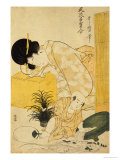 A Mother Dozing While Her Child Topples a Fish Bowl Giclee Print by Kitagawa Utamaro