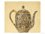 Design for an Ovoid Silver-Gilt Cloisonne Enamel Coffee Pot Reproduction procédé giclée par Carl Faberge