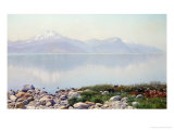 A Lake Landscape with Mountains Beyond, 1898 Prints by Konstantin Iakovlevich Kryzhitskii