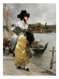 At the Quayside Premium Giclee Print by Emile-auguste Pinchart