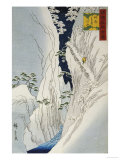 Kiso Gorge in New Snow Prints by  Hiroshige II