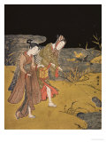 A Young Couple Catching Fireflies at Night on the Banks of a River Prints by Suzuki Harunobu