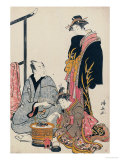 The Actor Matsumoto Koshiro IV Seated Holding a Pipe by a Brazier Giclee Print by Torii Kiyonaga